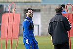 St Johnstone Training….01.10.20     <br />Craig Conway pictured with coach Alec Cleland during training at McDiarmid Park ahead of Sundays game against Celtic.<br />Picture by Graeme Hart.<br />Copyright Perthshire Picture Agency<br />Tel: 01738 623350  Mobile: 07990 594431