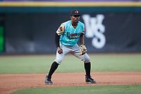 Llamas de Hickory third baseman Jose Acosta (2) on defense against the Winston-Salem Rayados at Truist Stadium on July 6, 2021 in Winston-Salem, North Carolina. (Brian Westerholt/Four Seam Images)
