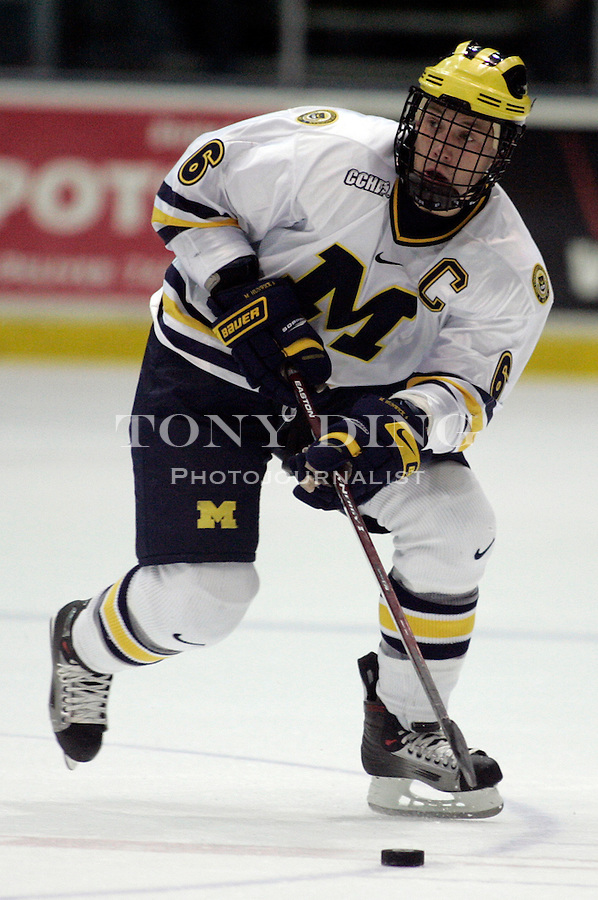 19 October 2006: Michigan defender, and team captain, Matt Hunwick (6) during Michigan's 6-3 win in their CCHA season opener against Miami (OH) at Yost Ice Arena in Ann Arbor, MI.