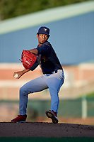 State College Spikes pitcher Enmanuel Solano (25) during a NY-Penn League game against the Mahoning Valley Scrappers on August 29, 2019 at Eastwood Field in Niles, Ohio.  State College defeated Mahoning Valley 8-1.  (Mike Janes/Four Seam Images)
