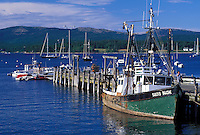 Manset, Mount Desert Island, ME, Maine, Fishing boat docked in the harbor in the fishing village of Manset on the Atlantic Ocean.