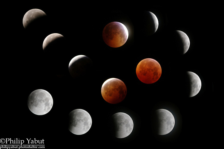 The December 21, 2010, total lunar eclipse, from first umbral contact until the last pic before the clouds took over at around 4:30 AM EST, from Arlington, Virginia.