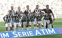Calcio, Serie A: Torino, Allianz Stadium, 19 agosto 2017. <br /> Juventus team players (from top left): Giorgio Chiellini, Stephan Lichtsteiner, Daniele Rugani, Mario Mandzukic, Gianluigi Buffon, Paulo Dybala, Gonzalo Higuain, Juan Cuadrado, Miralem Pjanic, Claudio Marchisio, Alex Sandro pose before the Italian Serie A football match between Juventus and Cagliari at Torino's Allianz Stadium, August 19, 2017.<br /> UPDATE IMAGES PRESS/Isabella Bonotto