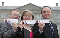 No Fee Photos 21/03/14 (L-R)Thomas Garry from Tullamore ,Cathy Soden from Dublin and Shaun Bradley from Donegal pictured at World Down Syndrome Day ,The National Advisory Council who are adults with Down syndrome are going to be delivering their manifesto to a bunch of TD's and MEPs and handing out fliers etc.Pictured at Buswells Hotel,Co Dublin this afternoon… Pic STEPHEN COLLINS/Collins Photos