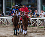 August 07, 2021: By My Standards #1, ridden by jockey Gabe Saez in the post parade before the Grade 1 Whitney Stakes at Saratoga Race Course in Saratoga Springs, N.Y. on August 7, 2021. Robert Simmons/Eclipse Sportswire/CSM