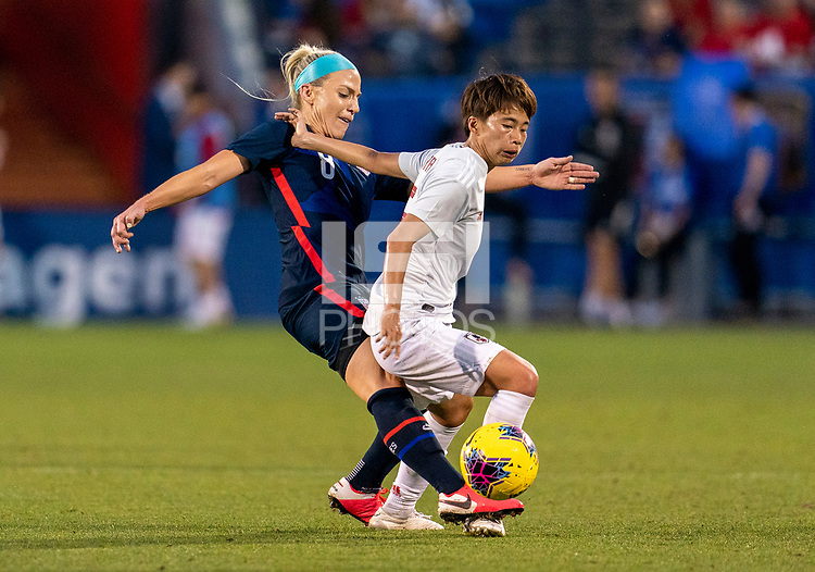 FRISCO, TX - MARCH 11: Julie #Ertz #8 of the United States tackles Mina Tanaka #15 of Japan during a game between Japan and USWNT at Toyota Stadium on March 11, 2020 in Frisco, Texas.
