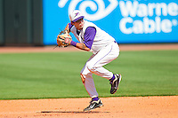 Daniel Wagner #5 of the Winston-Salem Dash looks to make a throw to first base against the Wilmington Blue Rocks at BB&T Ballpark on April 24, 2011 in Winston-Salem, North Carolina.   Photo by Brian Westerholt / Four Seam Images