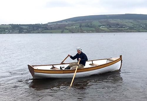 Richard Street takes a pandemic regulations-compliant test row with the newly-acquired Glandore dinghy on Blessington Lake