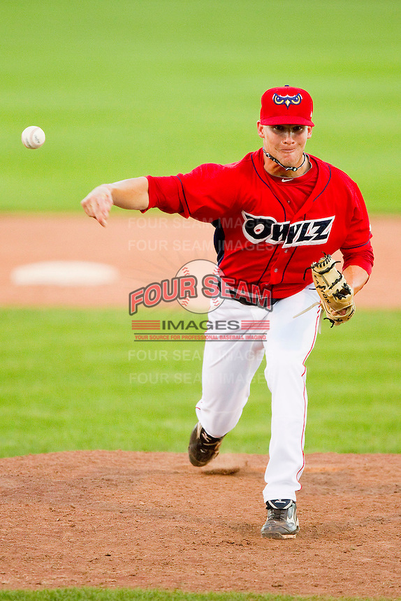 Orem Owlz relief pitcher Robert Powell (5) in action against the Billings Mustangs at Brent Brown Ballpark on July 22, 2012 in Orem, Utah.  The Mustangs defeated the Owlz 13-8.  (Brian Westerholt/Four Seam Images)