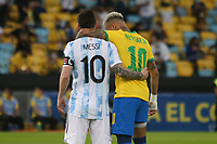Lionel Messi of Argentina and Neymar jr of Brazil during the Copa America 2021,final football match between Argentina and Brazil on July 10, 2021 at Estadio de Maracana in Rio de Janeiro , Brazil <br /> Photo Laurent Lairys / Panoramic / Insidefoto <br /> ITALY ONLY