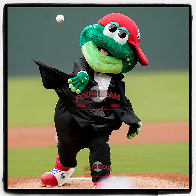 Greenville Drive mascot Reedy Rip'It, dressed in a tux for his birthday, throws out the first pitch at a game against the Brooklyn Cyclones on Wednesday, May 12, 2021, at Fluor Field at the West End in Greenville, South Carolina. (Tom Priddy/Four Seam Images)