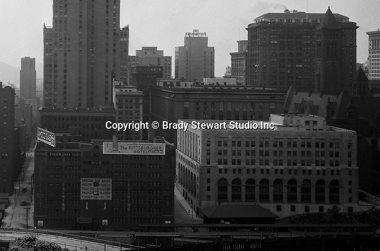 Pittsburgh PA:  View of the Pittsburgh skyline from Duquesne University.  The view includes the Pittsburgh Hotel, Grant and Frick Buildings, City-County Building, and Jail.