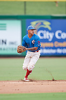 Clearwater Threshers shortstop Arquimedes Gamboa (7) during a game against the St. Lucie Mets on August 11, 2018 at Spectrum Field in Clearwater, Florida.  St. Lucie defeated Clearwater 11-0.  (Mike Janes/Four Seam Images)