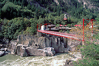 Hell's Gate, Fraser Canyon, BC, British Columbia, Canada - Suspension Bridge and Airtram over Fraser River