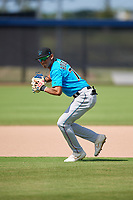 Miami Marlins third baseman Cristhian Rodriguez (76) during practice before an Instructional League game against the Washington Nationals on September 26, 2019 at FITTEAM Ballpark of The Palm Beaches in Palm Beach, Florida.  (Mike Janes/Four Seam Images)
