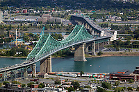 aerial photograph of the Jacques Cartier Bridge, Pont Jacques-Cartier, Montreal, Quebec, Canada | photographie aérienne du pont Jacques-Cartier, Pont Jacques-Cartier, Montréal, Québec, Canada