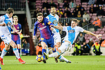 Lionel Messi of FC Barcelona (C) fights for the ball with Fabian Lukas Schar of RC Deportivo La Coruna (R) during the La Liga 2017-18 match between FC Barcelona and Deportivo La Coruna at Camp Nou Stadium on 17 December 2017 in Barcelona, Spain. Photo by Vicens Gimenez / Power Sport Images