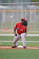 Boston Red Sox first baseman Josh Ockimey (18) waits for a throw during a minor league Spring Training intrasquad game on March 31, 2017 at JetBlue Park in Fort Myers, Florida. (Mike Janes/Four Seam Images)