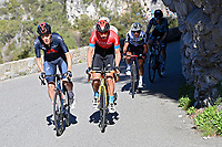 14th March 2021, Levens, France;  TEUNS Dylan (BEL) of Bahrain - Victorious with an Ineos cyclist during stage 8 of the 79th edition of the 2021 Paris - Nice cycling race, a stage of 92,7 kms between Plan-du-Var and Levens on March 14, 2021 in Levens, France