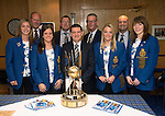 St Johnstone v Motherwell.....19.05.13      SPL.St Johnstone Chairman Steve Brown (centre) alongwith fellow driectors Roddy Grant, Stan Harris and Charlie Fraser pictured in the boardroom with Eve Muirhead's winning Scottish Ladies Curling Skip, Vicki Adams, Anna Sloan and Claire Hamilton..Picture by Graeme Hart..Copyright Perthshire Picture Agency.Tel: 01738 623350  Mobile: 07990 594431