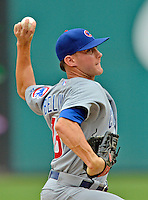 3 September 2012: Chicago Cubs pitcher Jeff Beliveau in action against the Washington Nationals at Nationals Park in Washington, DC. The Nationals edged out the visiting Cubs 2-1, in the first game of heir 4-game series. Mandatory Credit: Ed Wolfstein Photo