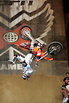 Nate Adams competes in the Moto X Best Trick competition during X-Games 12 in Los Angeles, California on August 4, 2006.