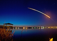 Space Shuttle Discovery streaks through the morning sky above daytona beach, Florida, to begin the STS-131 mission carrying a crew of 7 into orbit.  (Photo by Brian Cleary/www.bcpix.com)