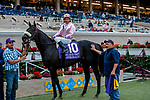 """DEL MAR, CA  AUGUST 21: #10 Astronaut, ridden by Victor Espinoza, in the winners circle after winning the Del Mar Handicap (Grade ll) Breeders Cup """"Win and You're In"""" Turf Division on August 21, 2021 at Del Mar Thoroughbred Club in Del Mar, CA  (Photo by Casey Phillips/Eclipse Sportswire/CSM)"""