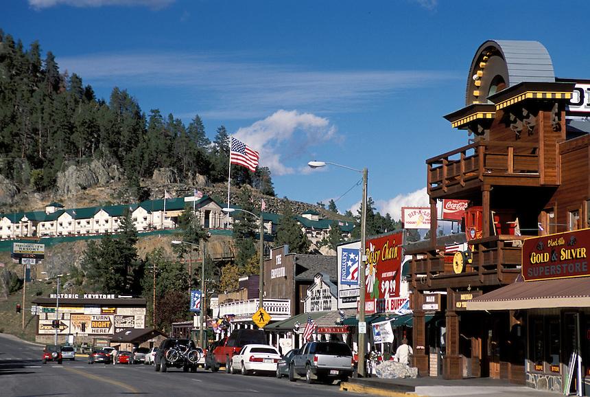 Street Scene downtown Keystone South Dakota gateway to Mount Rushmore National Memorial Hwy 16A business district.