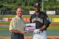 Jackson Generals outfielder Joe Dunigan #15 presented the Home Run Champion award before the Southern League All-Star Game  at Smokies Park on June 19, 2012 in Kodak, Tennessee.  The South Division defeated the North Division 6-2. (Tony Farlow/Four Seam Images).