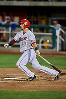 Harrison Wenson (23) of the Orem Owlz bats against the Ogden Raptors at Home of the Owlz on September 11, 2017 in Orem, Utah. Ogden defeated Orem 7-3 to win the South Division Championship. (Stephen Smith/Four Seam Images)