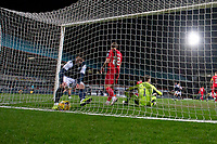 27th March 2021; Dens Park, Dundee, Scotland; Scottish Championship Football, Dundee FC versus Dunfermline; Danny Mullen of Dundee retrieves the ball from the net after scoring an equaliser to level the score at 2-2 in the 54th minute
