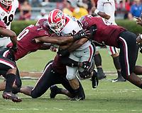 Columbia, South Carolina - September 8, 2018: Williams-Brice Stadium, University of South Carolina Gamecocks vs University of Georgia Bulldogs.  Final score University of South 17, University of Georgia 41.