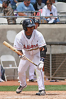 Lucas Montero #50 of the Kinston Indians at bat during a game against the Lynchburg Hillcats at Granger Stadium on April 28, 2010 in Kinston, NC. Photo by Robert Gurganus/Four Seam Images.