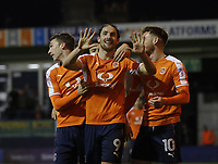 Danny Hylton of Luton Town scores his second of the game and his tenth of the season during the Sky Bet League 2 match between Luton Town and Cambridge United at Kenilworth Road, Luton, England on 18 November 2017. Photo by Liam Smith.