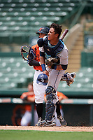 GCL Rays catcher Alexander Alvarez (21) throws to second base during a game against the GCL Orioles on July 21, 2017 at Ed Smith Stadium in Sarasota, Florida.  GCL Orioles defeated the GCL Rays 9-0.  (Mike Janes/Four Seam Images)