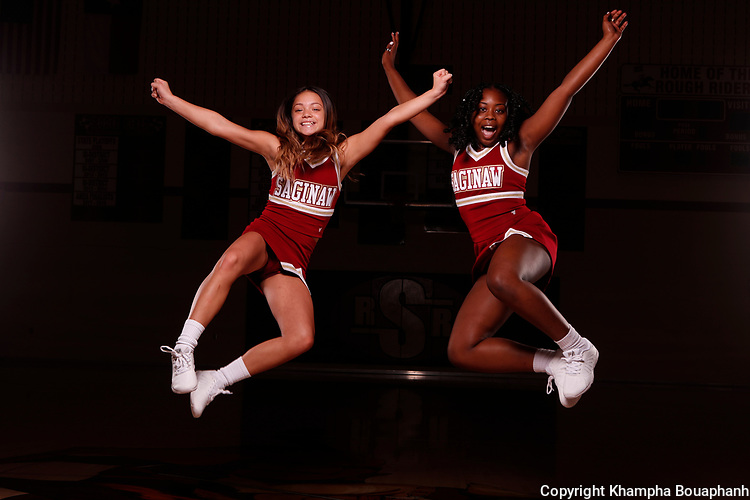 Saginaw cheerleaders, photographed Wednesday, September 9, 2020. (Photo by Khampha Bouaphanh)
