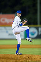 Burlington Royals relief pitcher Michael Messier (17) in action against the Danville Braves at Burlington Athletic Stadium on August 15, 2017 in Burlington, North Carolina.  The Royals defeated the Braves 6-2.  (Brian Westerholt/Four Seam Images)