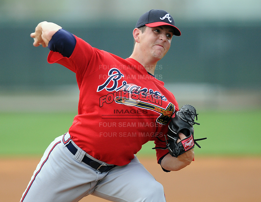 16 March 2009: RHP Cory Rasmus (29) of the Atlanta Braves at the Braves' Spring Training camp at Disney's Wide World of Sports in Lake Buena Vista, Fla. The former first round draft pick pitched a no-hitter Aug. 11, 2009. Photo by:  Tom Priddy/Four Seam Images.