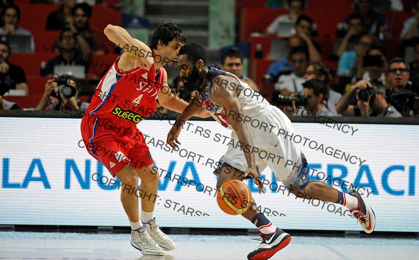 SERBIA - USA BASKETBALL WORLD CUP SPAIN MADRID final, finale Srbija - SAD<br /> sunday September 14. 2014. Milos Teodosic James Harden