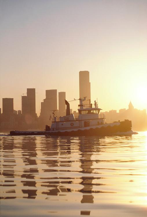 Seattle, Puget Sound, tugboat, Seattle skyline, Foss tug Shelley Foss, Elliott Bay, Washington State, Pacific Northwest,