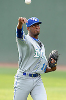 Starting pitcher Torey Deshazier (18) of the Lexington Legends warms up before a game against the Greenville Drive on Tuesday, April 14, 2015, at Fluor Field at the West End in Greenville, South Carolina. Lexington won, 5-3. (Tom Priddy/Four Seam Images)
