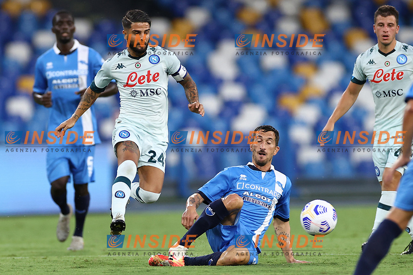 Lorenzo Insigne of SSC Napoli and Mirko Valdifiori of SC Pescara compete for the ball<br /> during the friendly football match between SSC Napoli and Pescara Calcio 1936 at stadio San Paolo in Napoli, Italy, September 11, 2020. <br /> Photo Cesare Purini / Insidefoto
