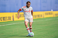 LAKE BUENA VISTA, FL - JULY 13: Nick DeLeon #18 of Toronto FC passes the ball during a game between D.C. United and Toronto FC at Wide World of Sports on July 13, 2020 in Lake Buena Vista, Florida.