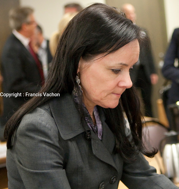 Suzanne cote at the Inquiry Commission into the appointment process for judges, more well know as the Commission Bastarche, September 15, 2010 in Quebec City.<br /> <br /> PHOTO :  Francis Vachon - Agence Quebec Presse