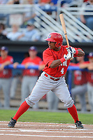 Auburn Doubledays infielder Wilmer Difo #4 during a game against the Batavia Muckdogs on July 3, 2013 at Dwyer Stadium in Batavia, New York.  Batavia defeated Auburn 12-2.  (Mike Janes/Four Seam Images)