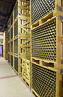 Bottles aging in the cellar. Domaine Gerovassiliou, Epanomi, Macedonia, Greece.