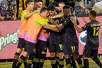 LOS ANGELES, CA - JULY 17: Carlos Vela #10 of Los Angeles FC scores a goal and celebrates during a game between Real Salt Lake and Los Angeles FC at Banc of California Stadium on July 17, 2021 in Los Angeles, California.