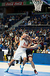 Real Madrid´s player Felipe Reyes and Bayern Munich´s player Savanovic during the 4th match of the Turkish Airlines Euroleague at Barclaycard Center in Madrid, Spain, November 05, 2015. <br /> (ALTERPHOTOS/BorjaB.Hojas)