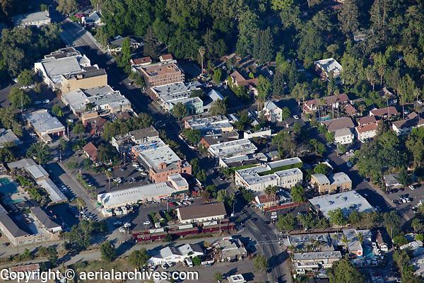 aerial photograph of the the cebter of Calistoga along Lincoln Avenue, Napa County, California